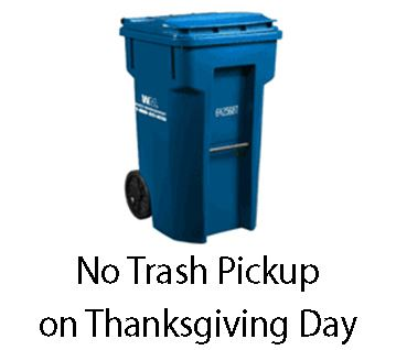 Thanksgiving Trash Schedule