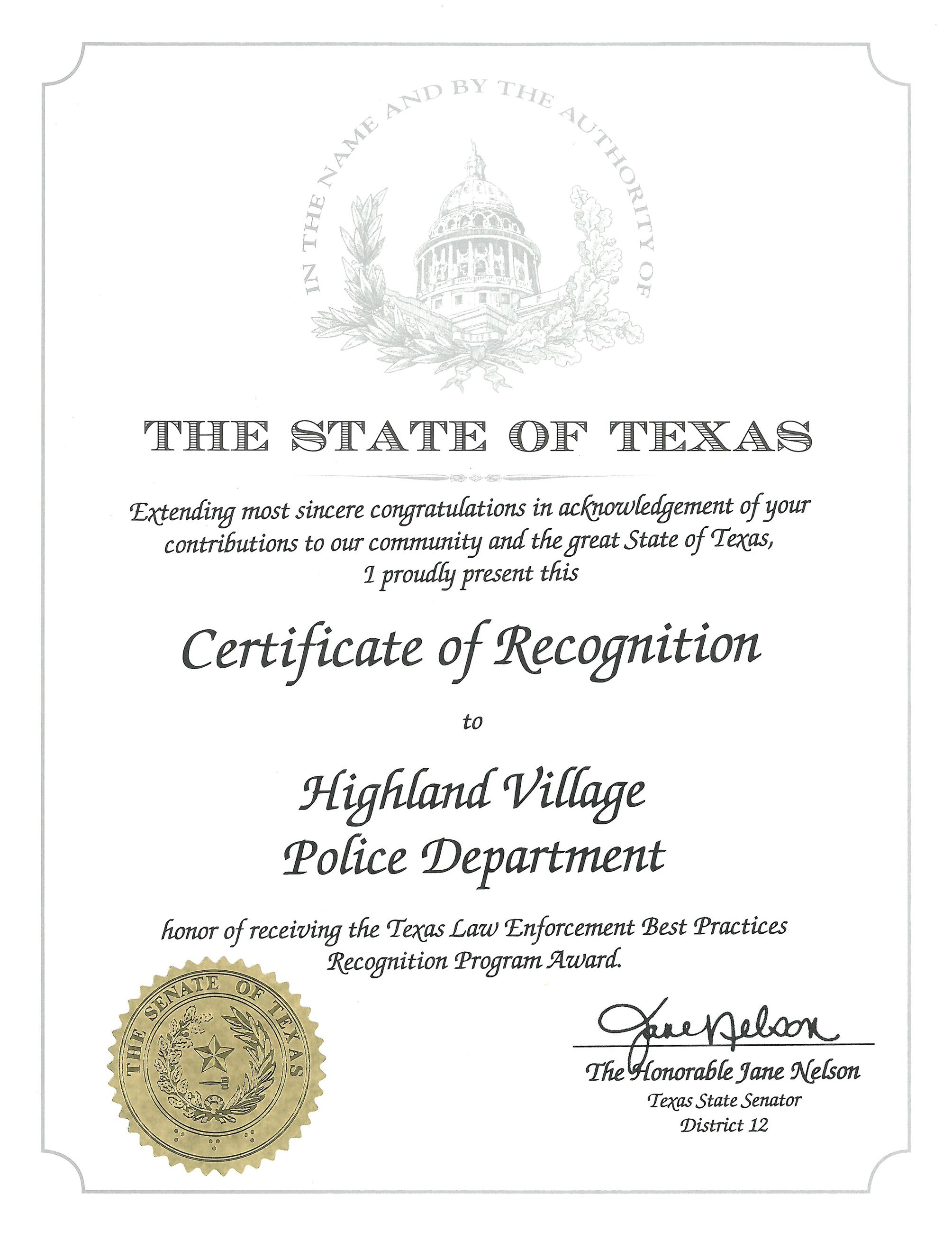 Certificate of Recognition - Senator Nelson