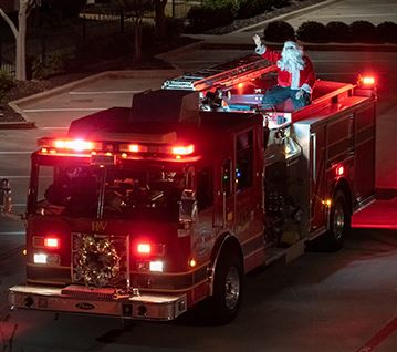 Santa on Fire Engine