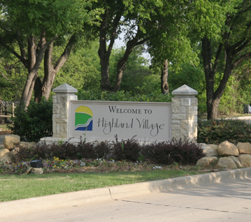 Highland Village Welcome Sign